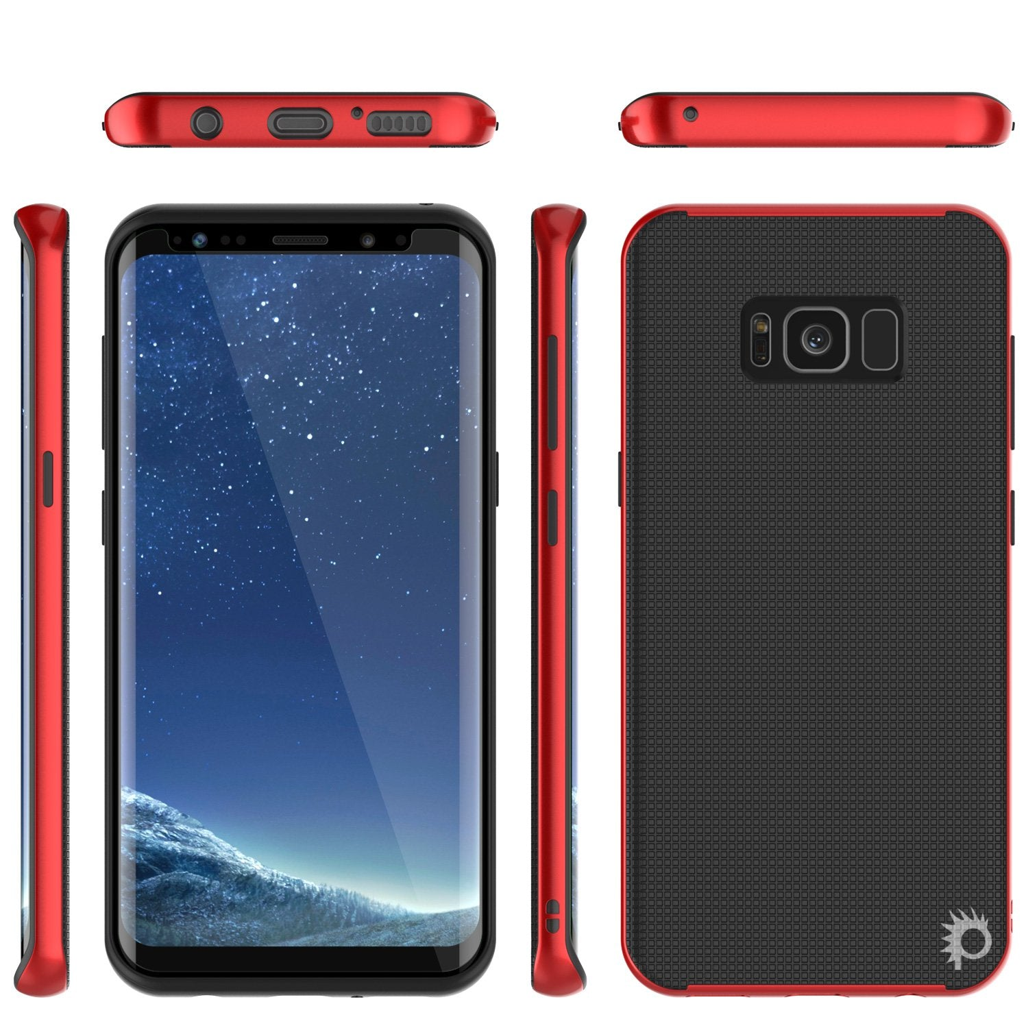 Galaxy S8 Case, PunkCase [Stealth Series] Hybrid 3-Piece Shockproof Dual Layer Cover [Red]