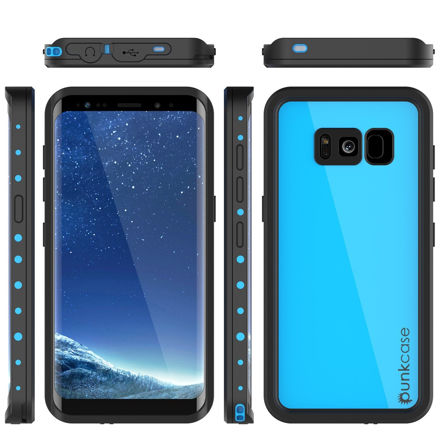 Galaxy S8 Plus  Case, Punkcase StudStar Series Slim Fit [Light Blue]