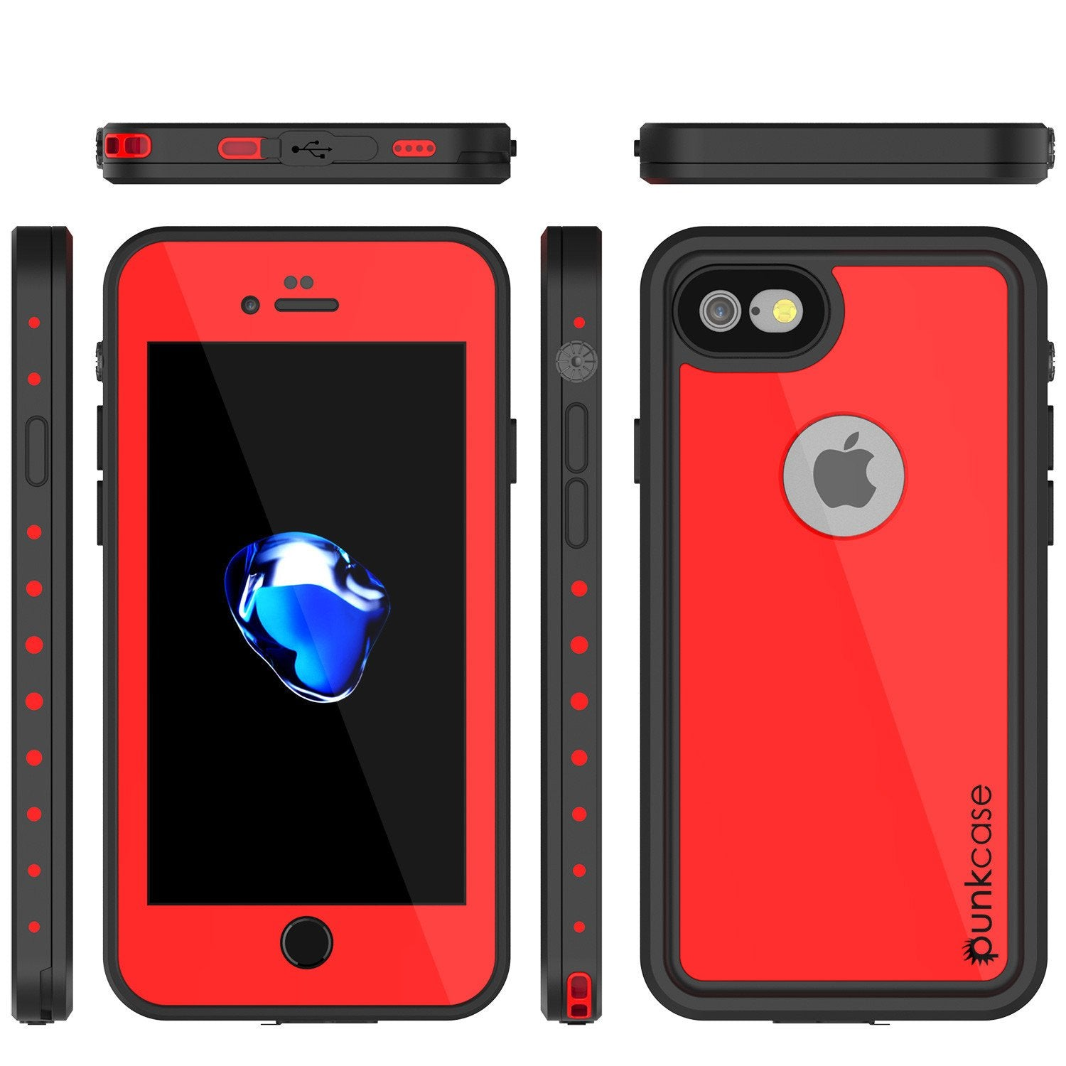iPhone 7 Waterproof Case, Punkcase [Red] [StudStar Series] [Slim Fit] [IP68 Certified] [Shockproof] [Dirtproof] [Snowproof] Armor Cover for Apple iPhone 7 & 7s