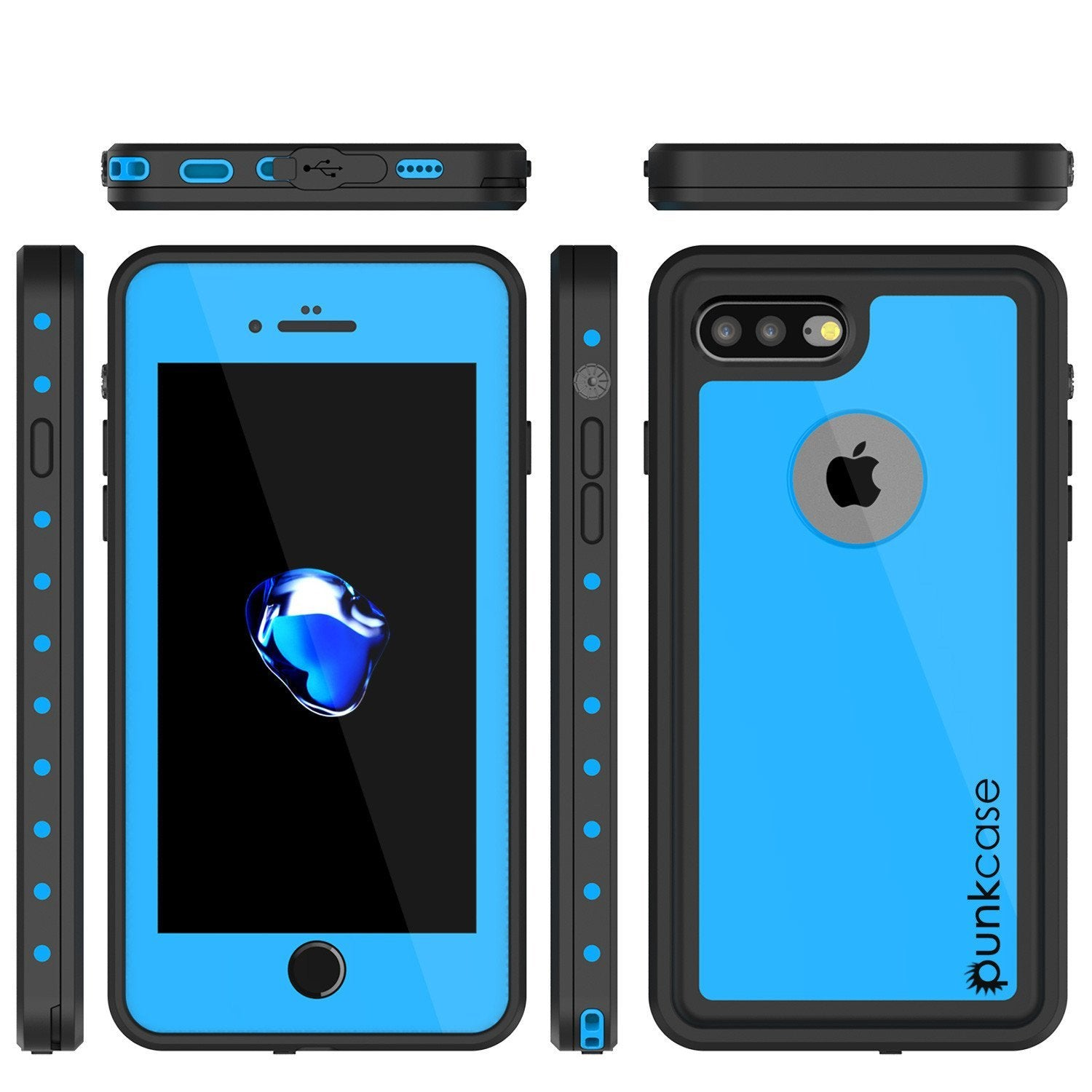 iPhone 8+ Plus Waterproof Case, Punkcase StudStar Series [Light Blue]