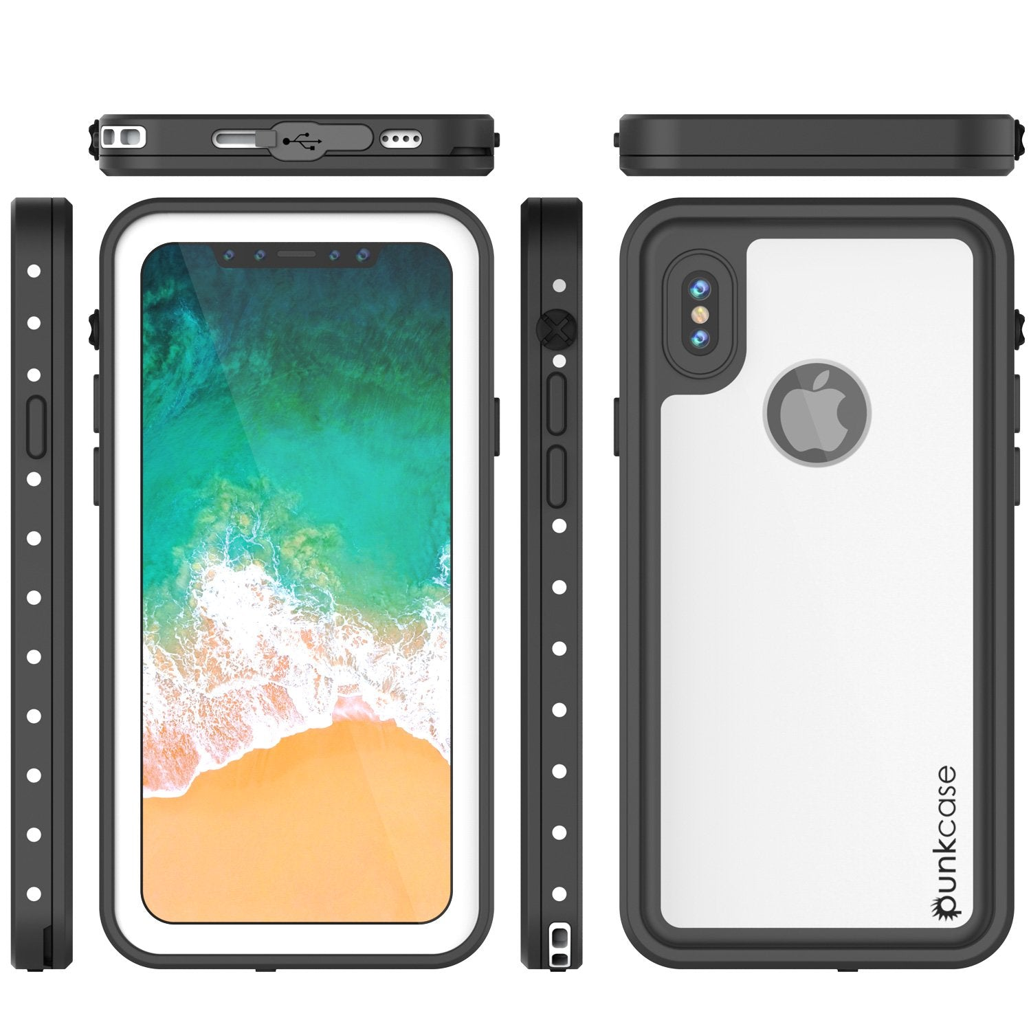 iiPhone X Plus Waterproof Case, Punkcase StudStar Series Cover [White]