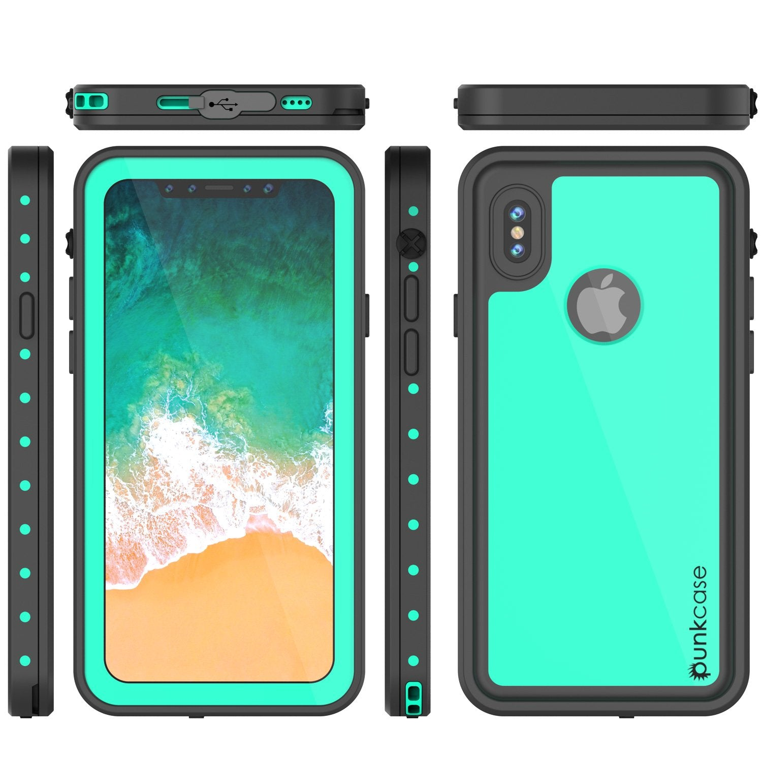 iPhone X Plus Waterproof Case, Punkcase StudStar Series Cover [Teal]
