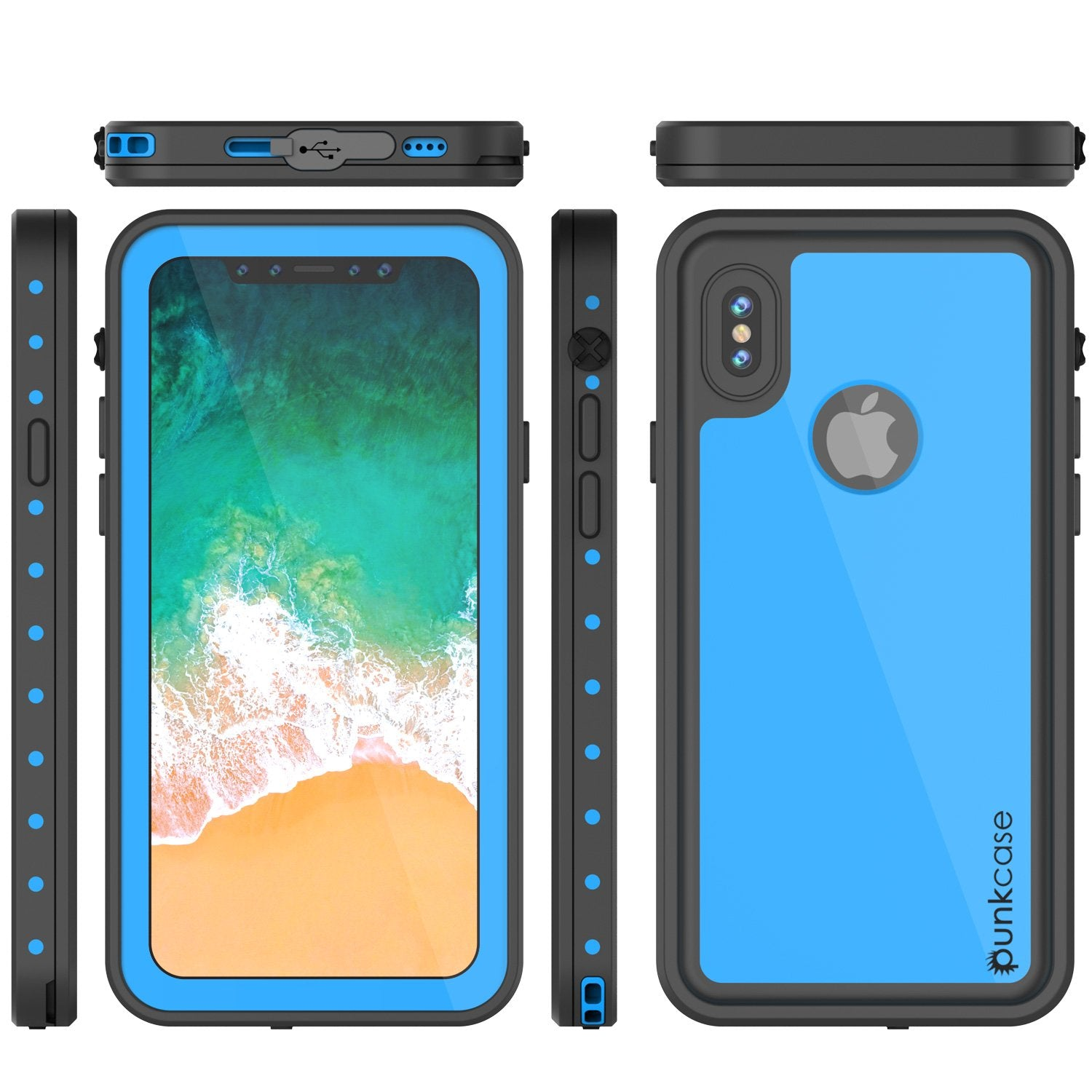 iPhone X Plus Waterproof Punkcase StudStar Series Cover [Light Blue]