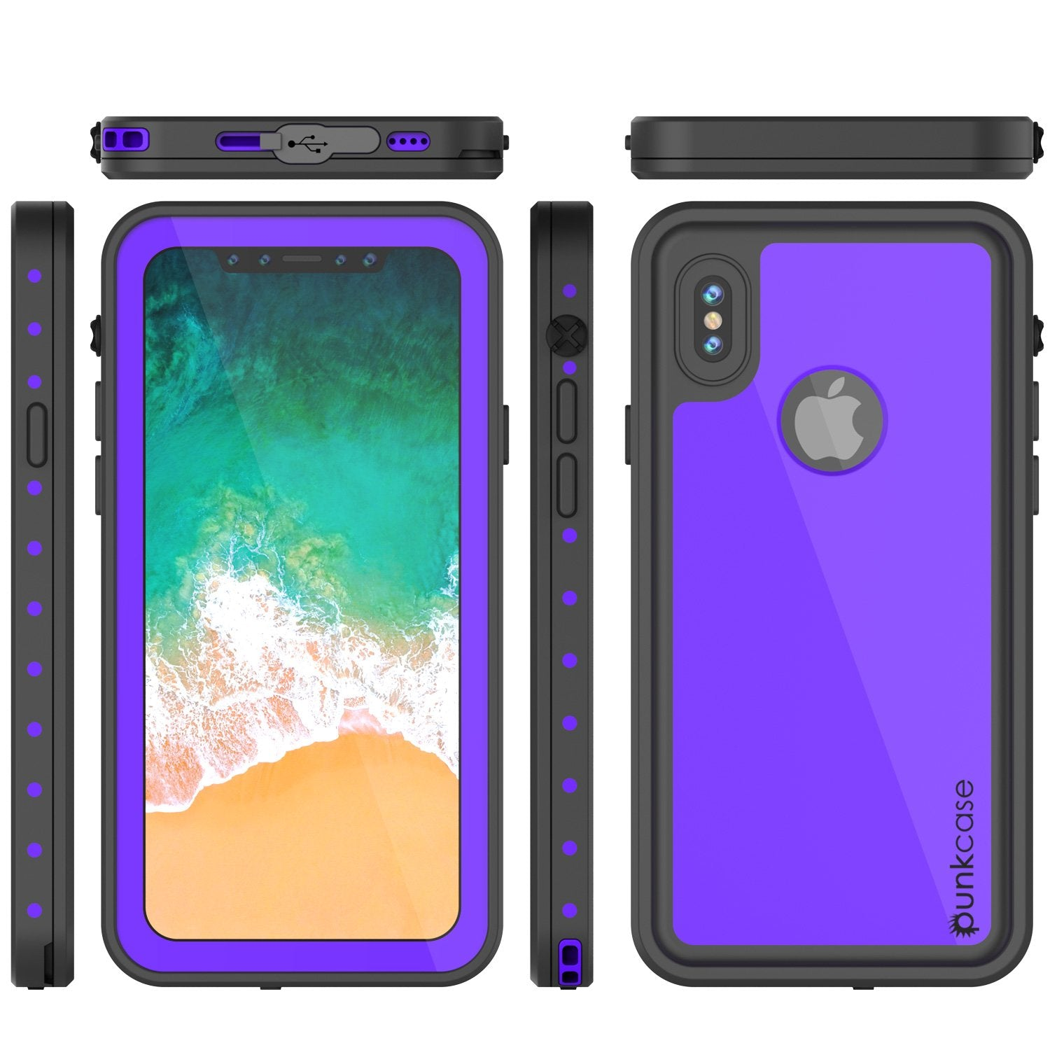 iPhone X Plus Waterproof Case, Punkcase StudStar Series Cover, Purple