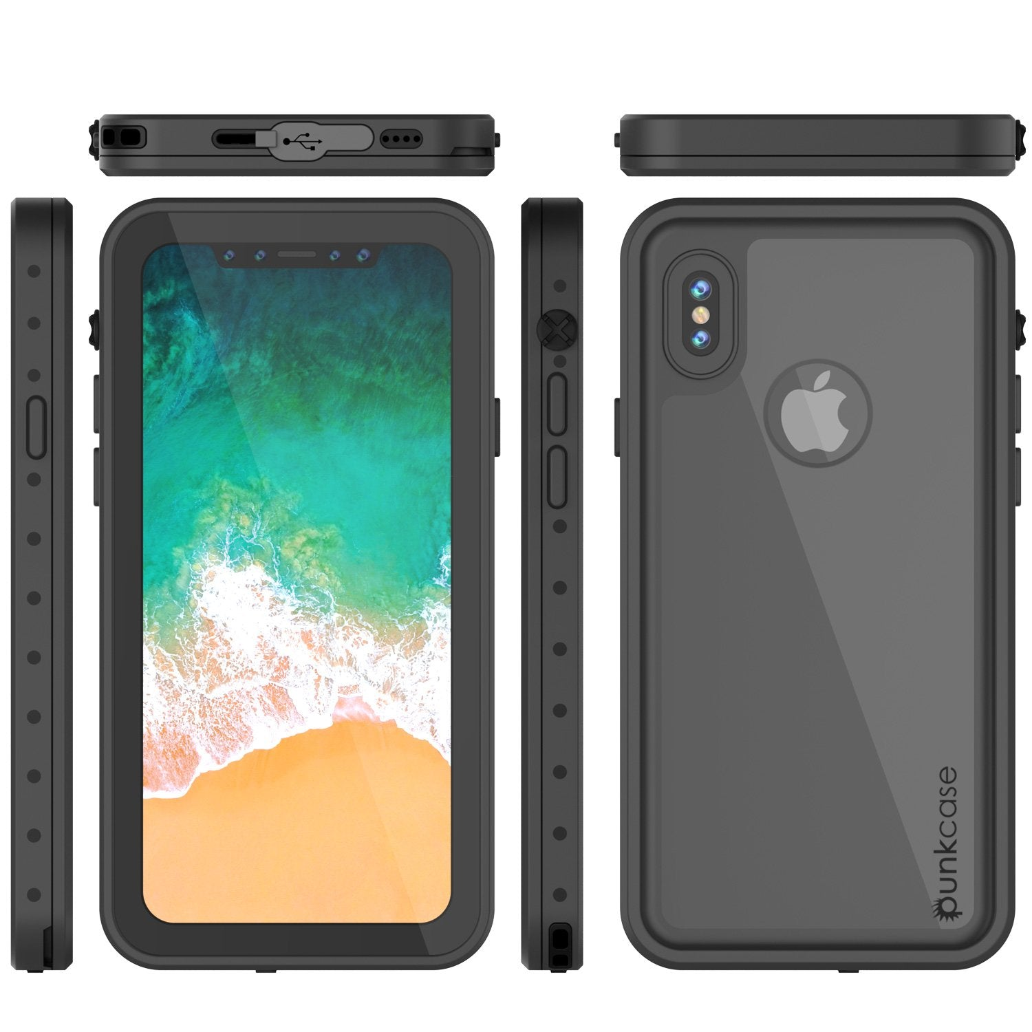 iPhone X Plus Waterproof Case, Punkcase StudStar Series Cover [Black]