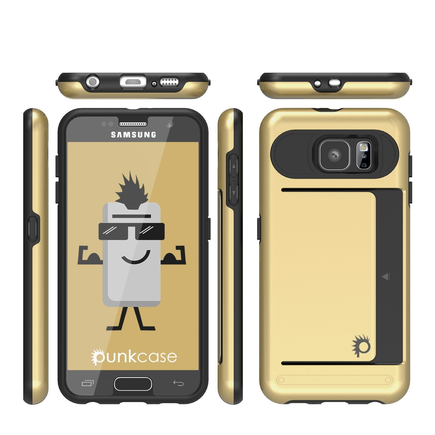 Galaxy S6 EDGE Plus Case PunkCase CLUTCH Gold Series Slim Armor Soft Cover w/ Screen Protector
