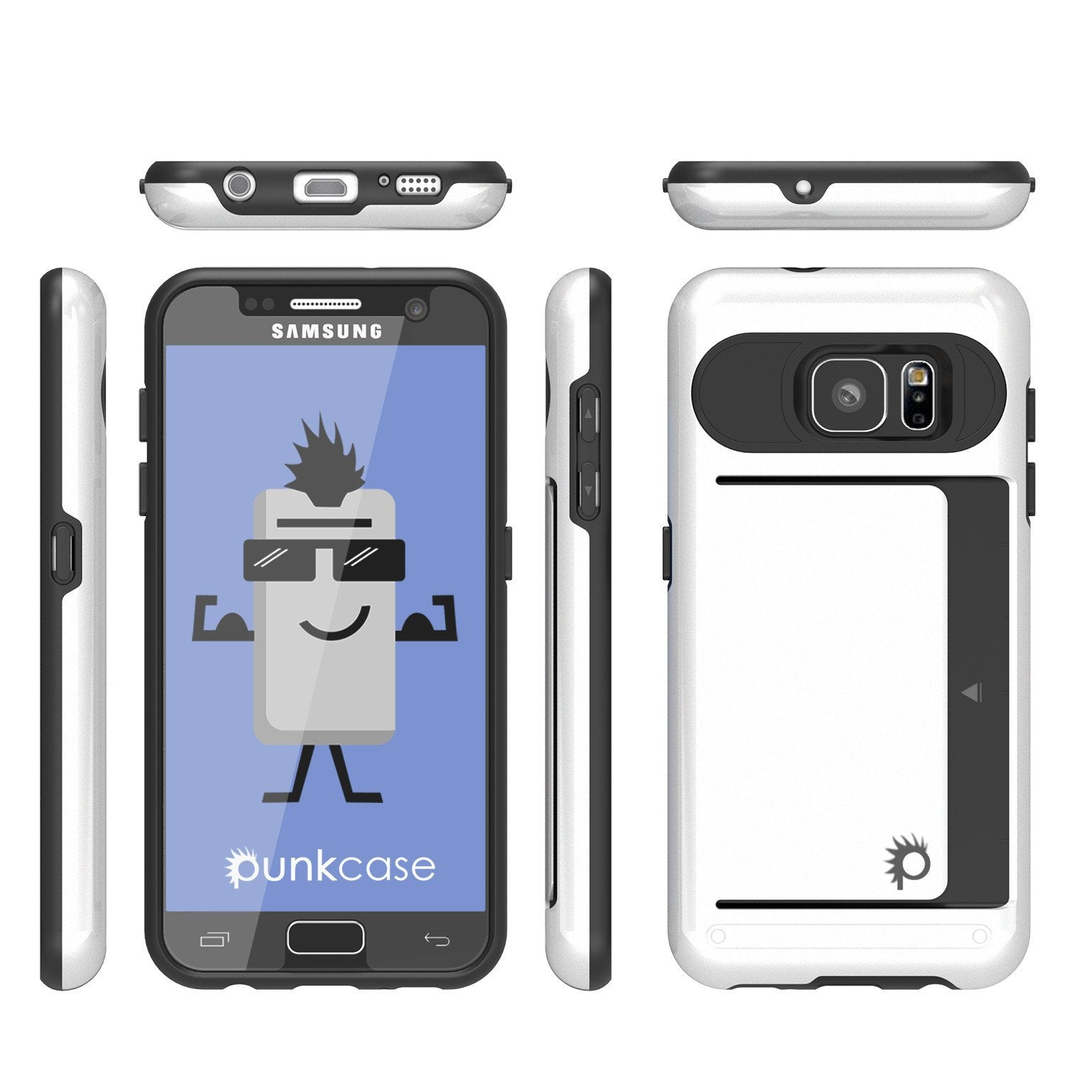 Galaxy s7 Case PunkCase CLUTCH White Series Slim Armor Soft Cover Case w/ Tempered Glass