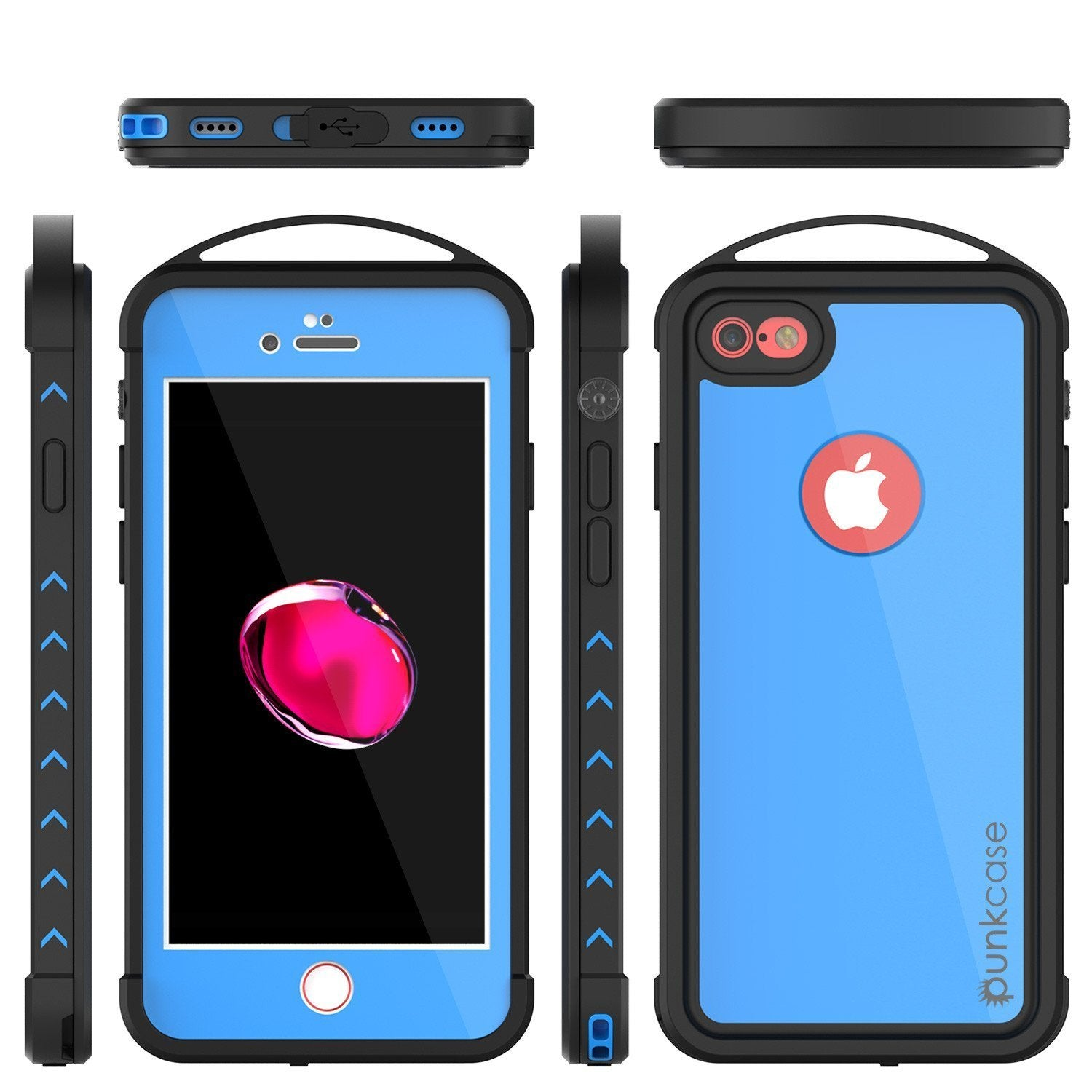 iPhone 8 Waterproof Case, Punkcase ALPINE Series, Light Blue | Heavy Duty Armor Cover