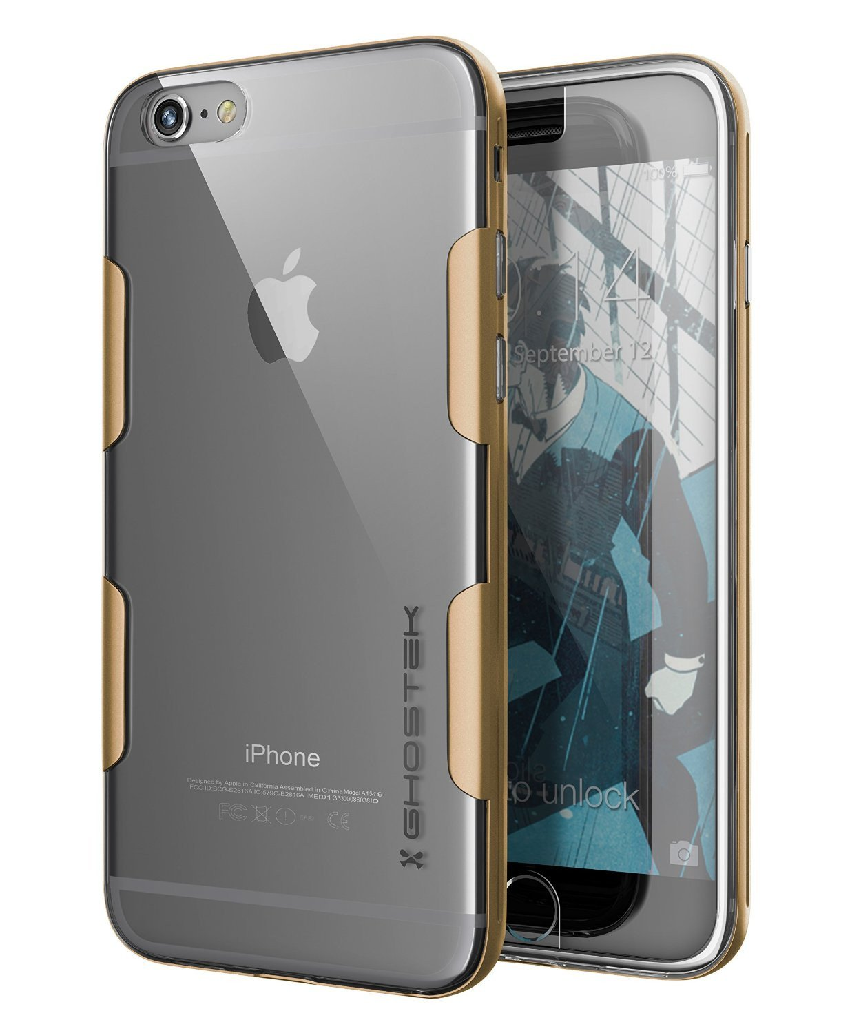 iPhone 6s Plus Case Gold Ghostek Cloak, Slim Protective Armor w/ Tempered Glass | Lifetime Warranty