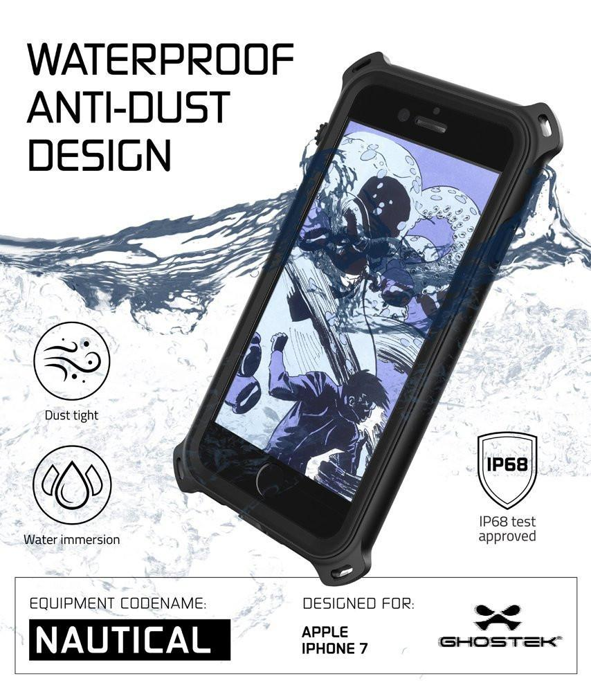 iPhone 7 Waterproof Case, Ghostek Nautical Series for iPhone 7 | Slim Underwater Protection | Ultra Fit | Swimming (Black)