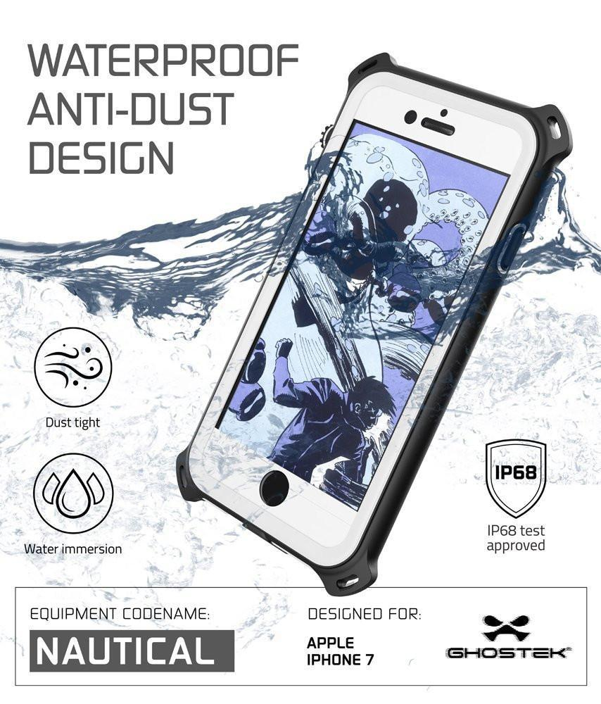 iPhone  8  Waterproof Case, Ghostek Nautical Series for iPhone  8  | Slim Underwater Protection | Adventure Duty | Ultra Fit | Swimming (White)