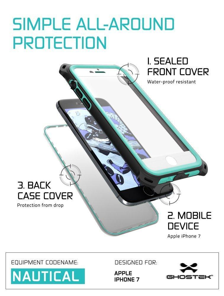 factory price 5a7ff 9d875 iPhone 8 Waterproof Case, Ghostek Nautical Series for iPhone 8 | Slim  Underwater Protection | Adventure Duty | Ultra Fit | Swimming (Teal)