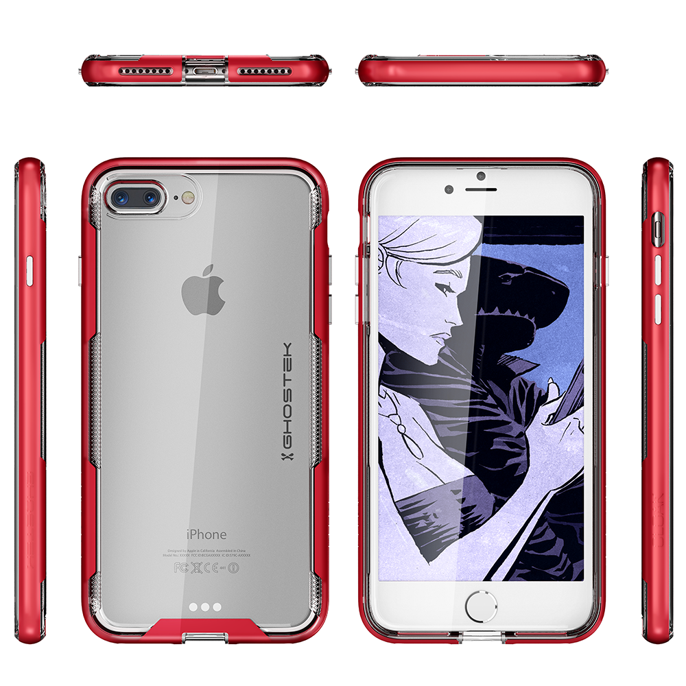 iPhone 7+ Plus Case,Ghostek Cloak 3 Series for iPhone 7+ Plus Clear Protective Case[RED]
