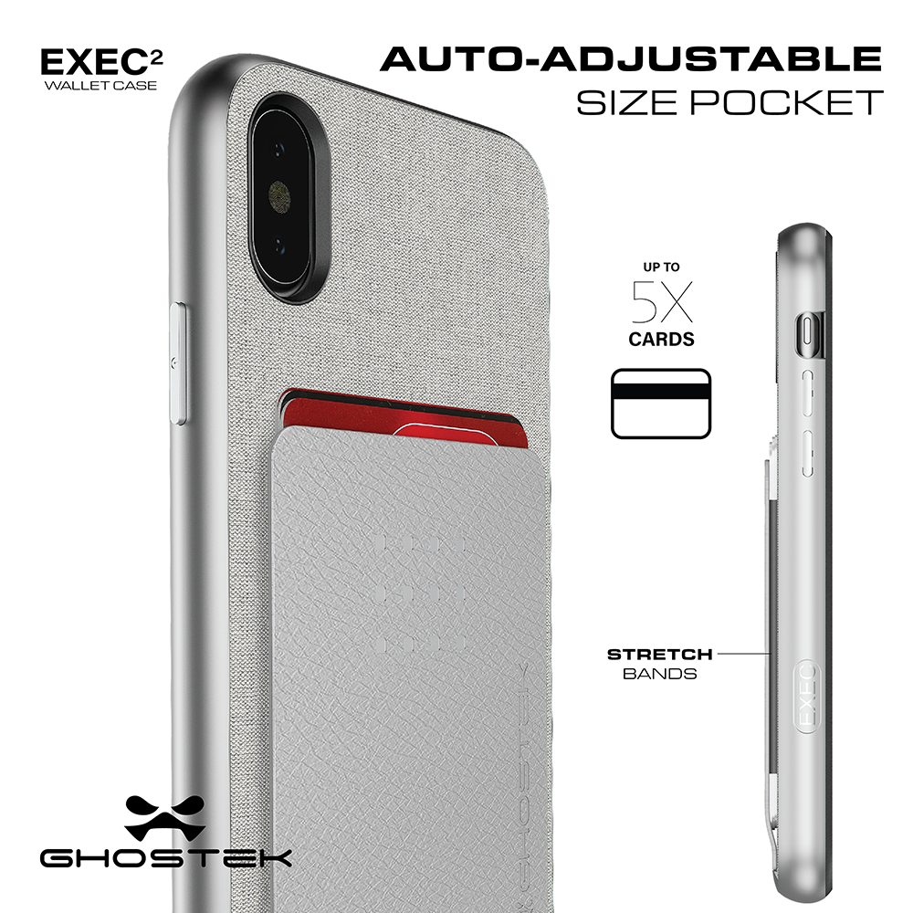 iPhone 8+ Plus Case , Ghostek Exec 2 Series for iPhone 8+ Plus Protective Wallet Case [SILVER]
