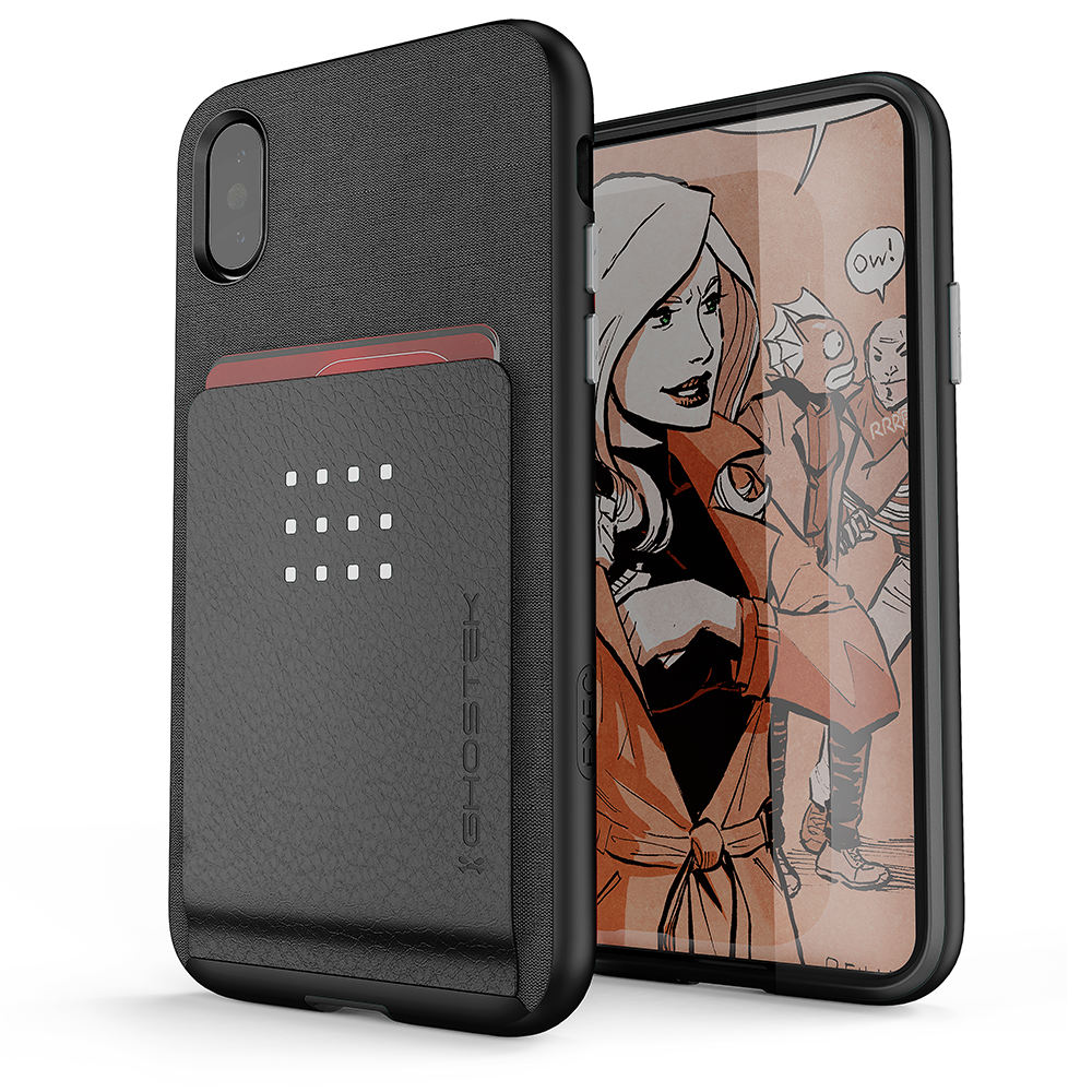 iPhone 8+ Plus Case , Ghostek Exec 2 Series for iPhone 8+ Plus Protective Wallet Case [BLACK]