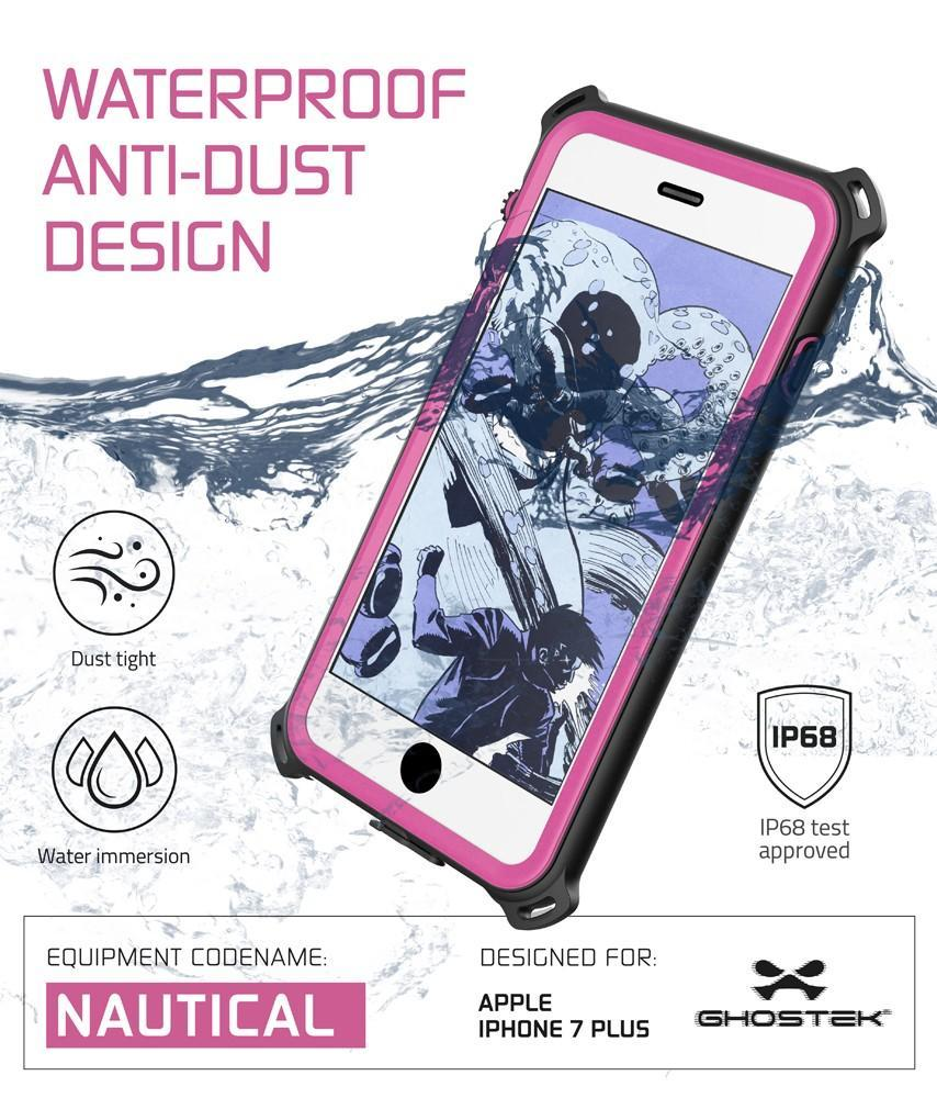 iPhone 7 Plus Waterproof Case, Ghostek Nautical Series for Apple iPhone 7 Plus | Slim Underwater Protection | Shockproof | Dirt-proof | Snow-proof | Protective | Adventure Duty | Swimming | Pink