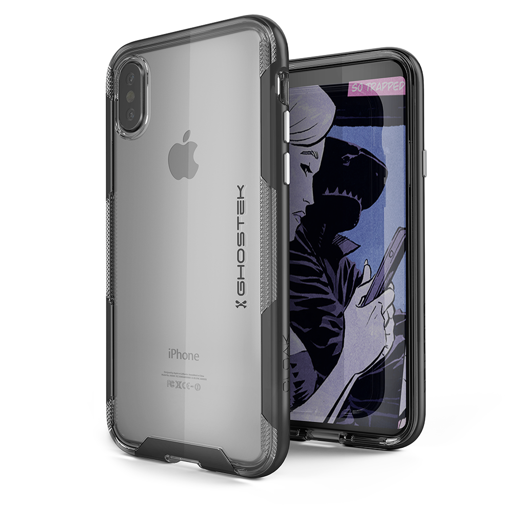 iPhone X PunkCase, Ghostek Cloak-3 Premium Transparent Cover [Black]