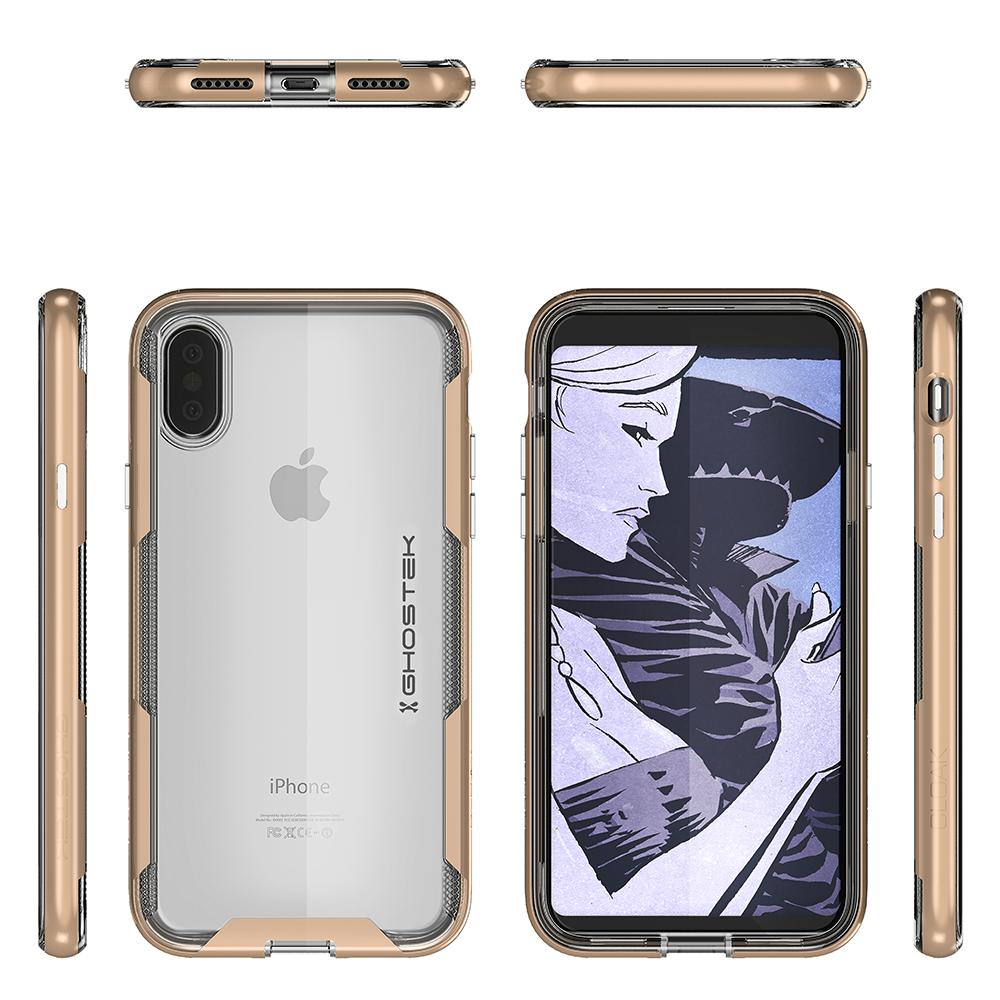 iPhone X PunkCase, Ghostek Cloak-3 Premium Transparent Cover [Gold]