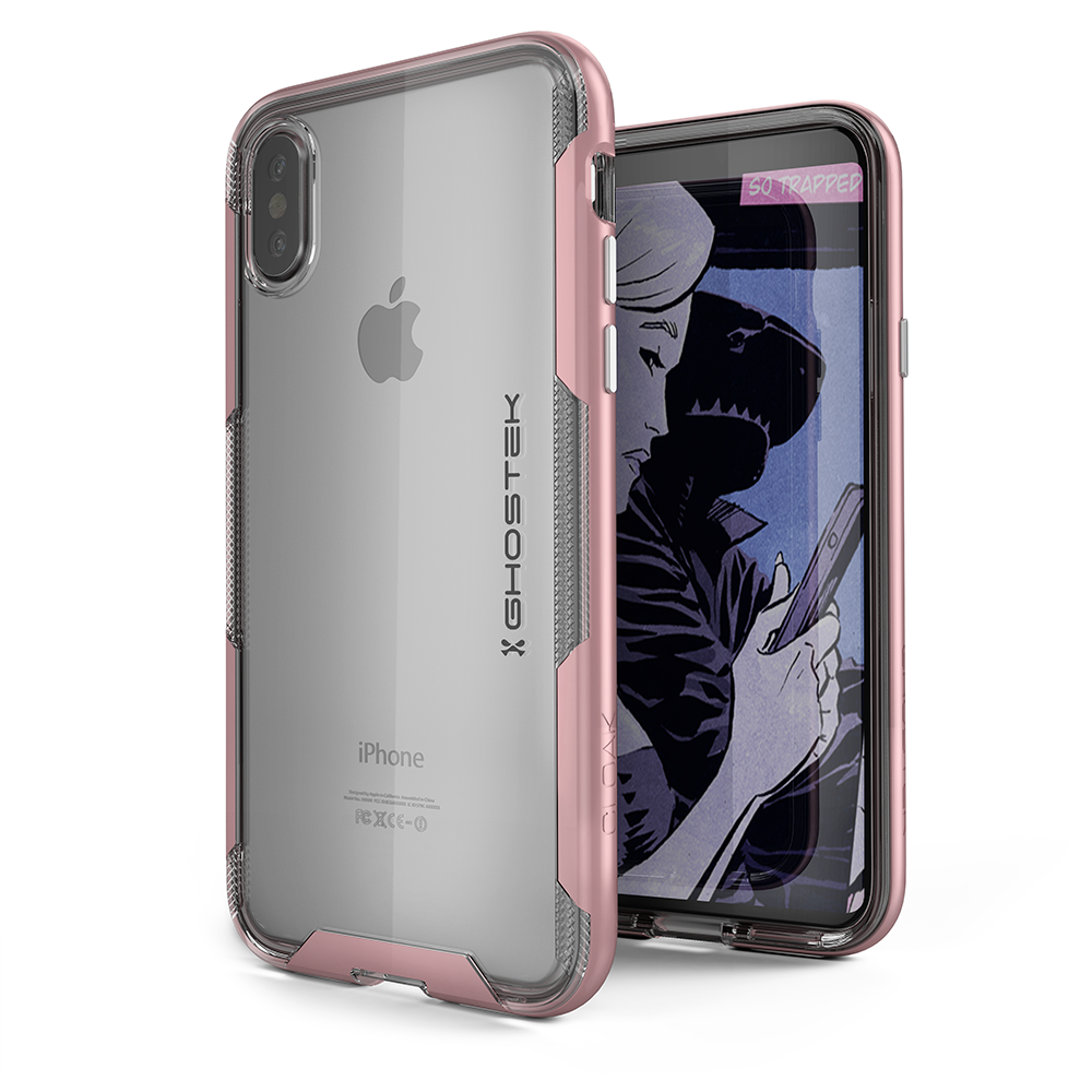 iPhone X PunkCase, Ghostek Cloak-3 Premium Transparent Cover [Pink]
