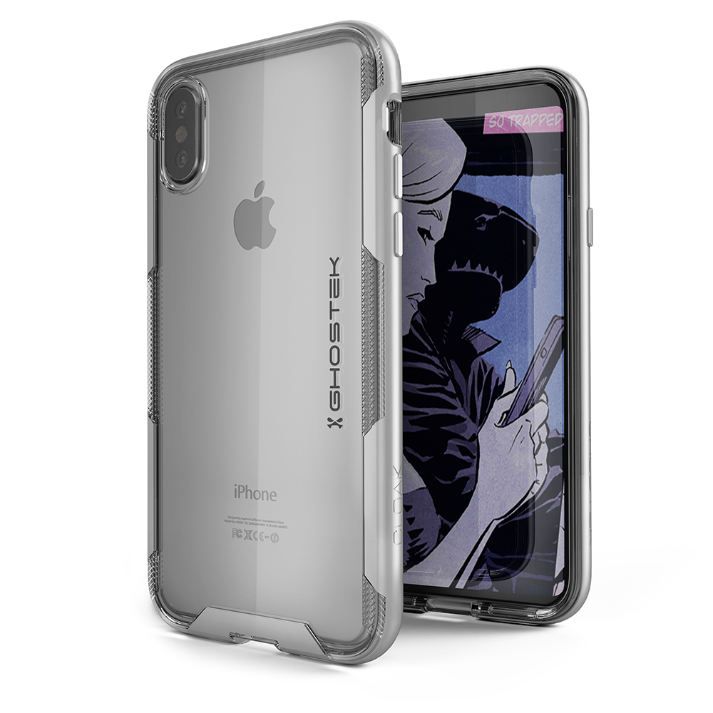 iPhone X Punkcase, Ghostek Cloak 3 Series Ultra Slim Clear, Silver