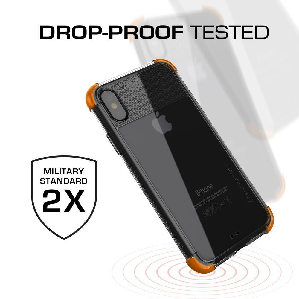 iPhone X Crystal Clear Case, Ghostek Covert-2 Soft Skin Cover, Orange