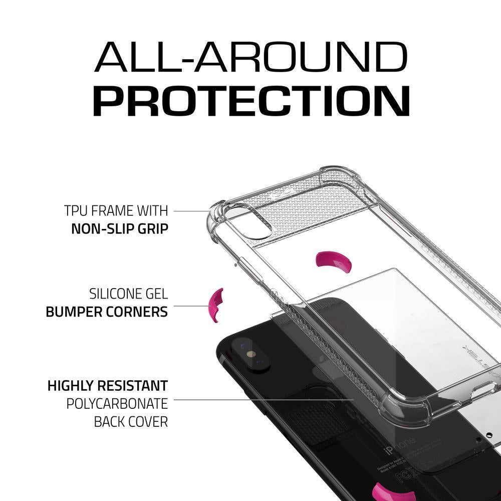 iPhone X Crystal Clear Case, Ghostek Covert-2 Soft Skin Cover, Pink