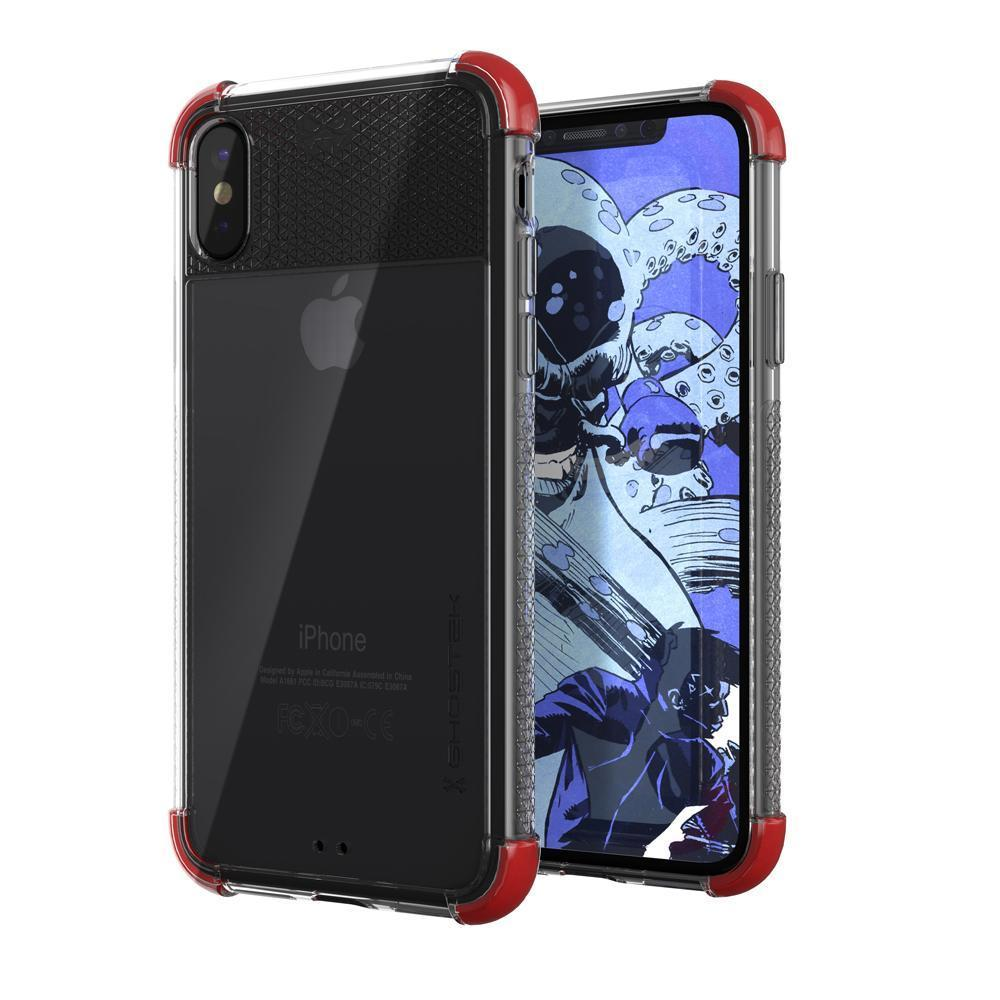 iPhone X Crystal Clear Case, Ghostek Covert-2 Soft Skin Cover, Red