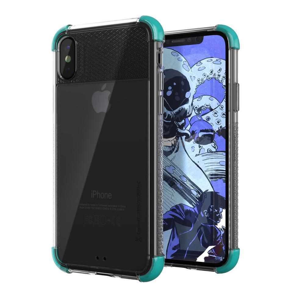 iPhone X Crystal Clear Case, Ghostek Covert-2 Soft Skin Cover, Teal