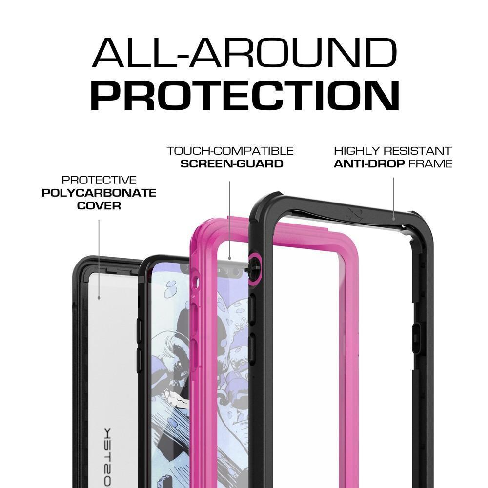 iphone X Waterproof Case, Ghostek Nautical Ultra Slim PunkCase, Pink