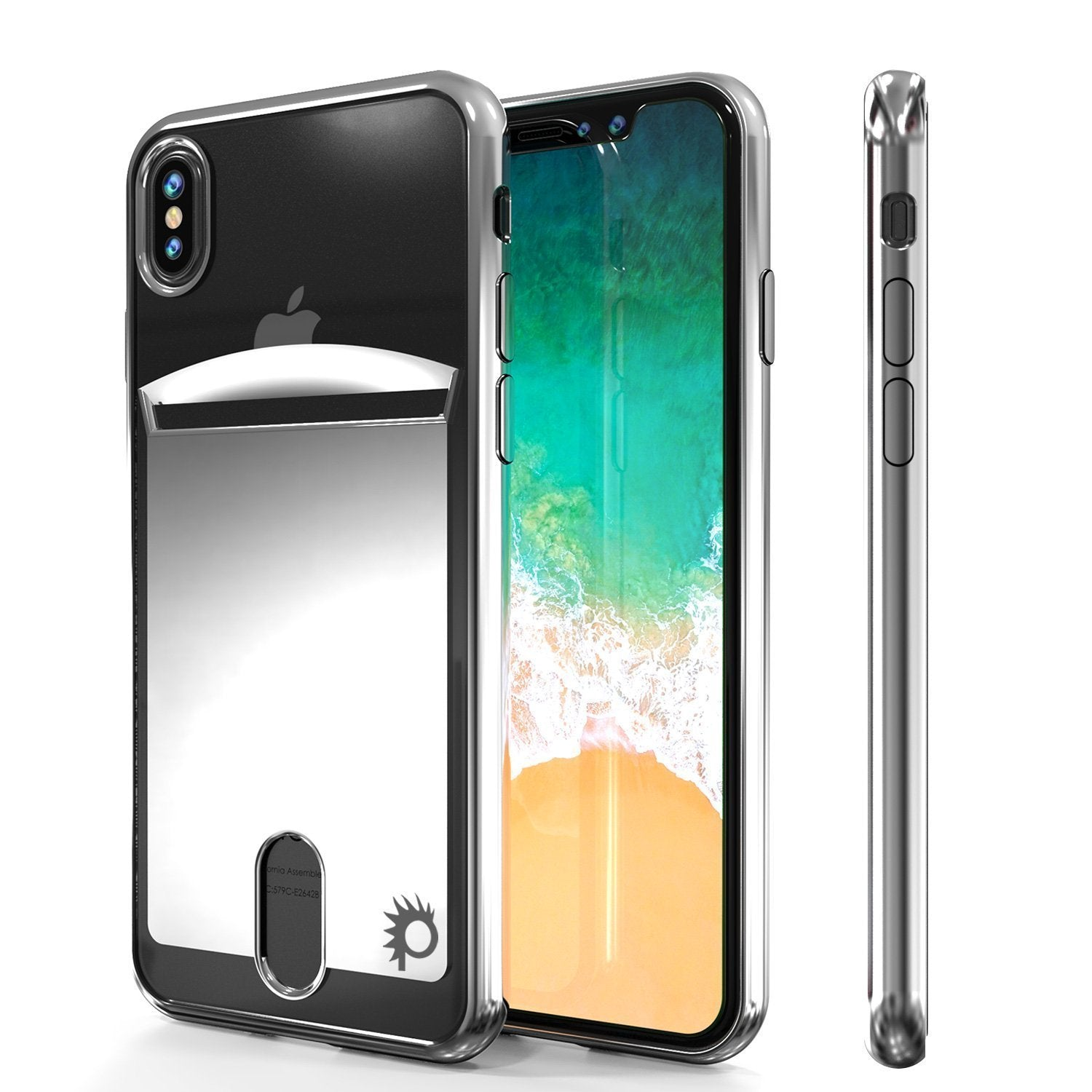 iPhone X Punkcase, LUCID Series Slim Fit Protective Dual Layer, Silver