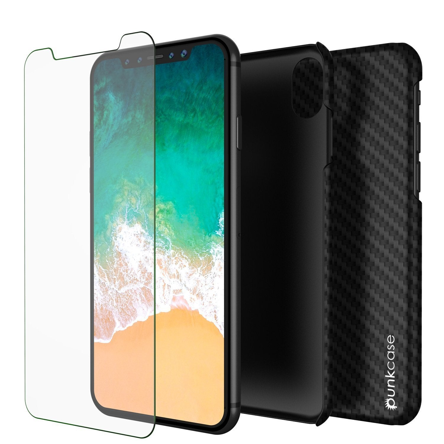 iPhone X case CarbonShield, Ultra Thin 2 Piece Dual Layer [Jet black]