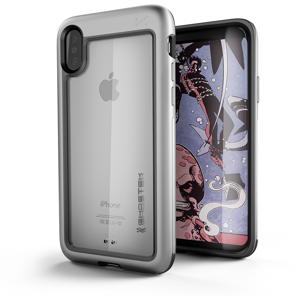 iPhone X Case, Ghostek Atomic Slim Fit with wireless Charging, silver