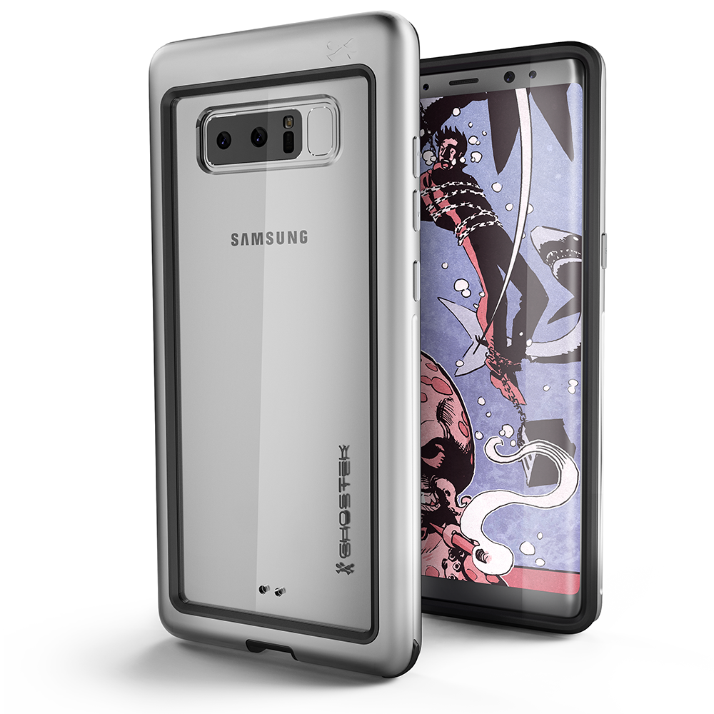 Galaxy Note 8 Punk Case, Ghostek Atomic Slim Shockproof Case, Silver