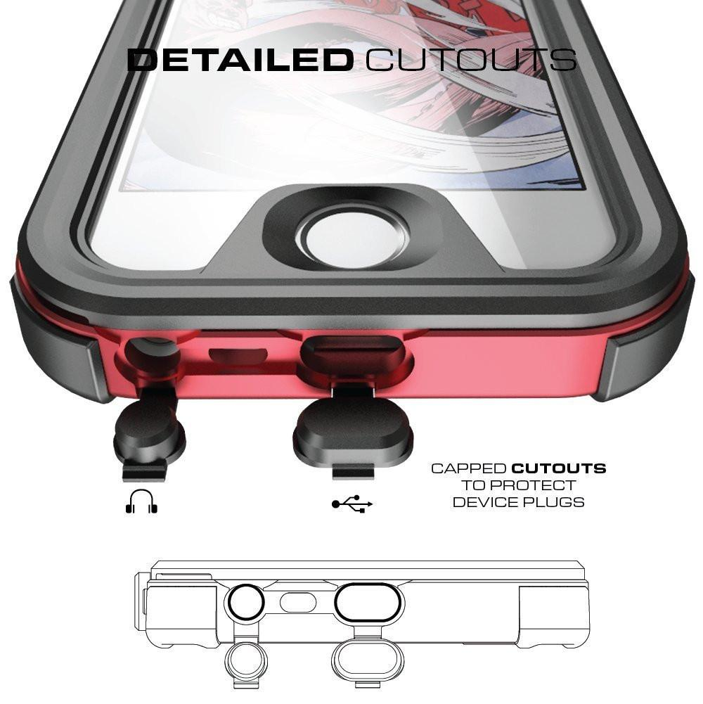 iPhone 7 Waterproof Case, Ghostek® Atomic 3 Series for Apple iPhone 7 | Underwater | Shockproof | Dirt-proof | Snow-proof | Aluminum Frame | Adventure Ready | Ultra Fit | Swimming (Red)