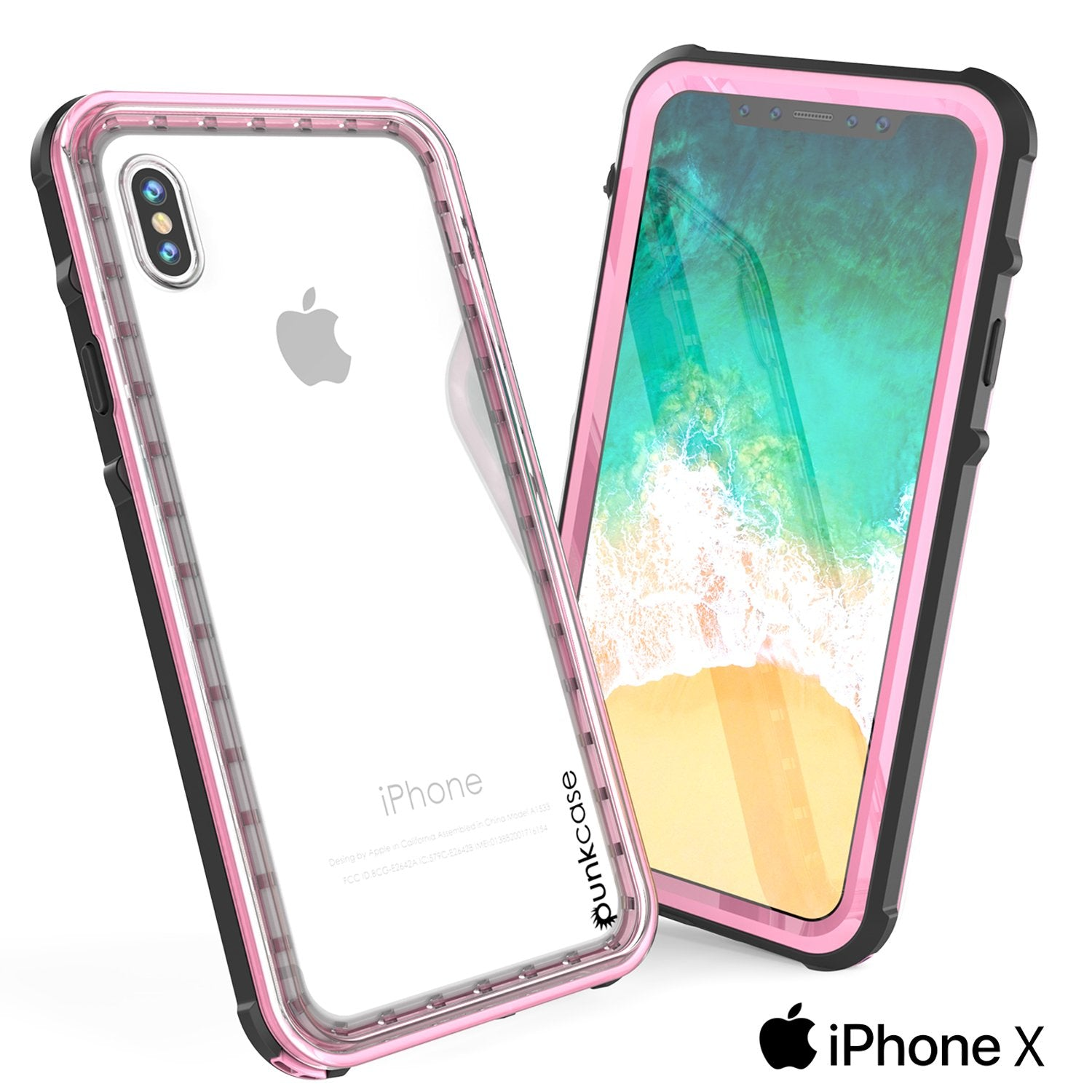 iPhone X Punkcase CRYSTAL SERIES Cover W/Screen Protector, Pink