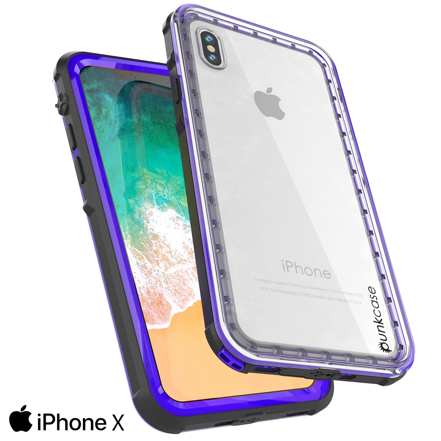 iPhone X Punkcase CRYSTAL SERIES Cover W/Screen Protector, Purple