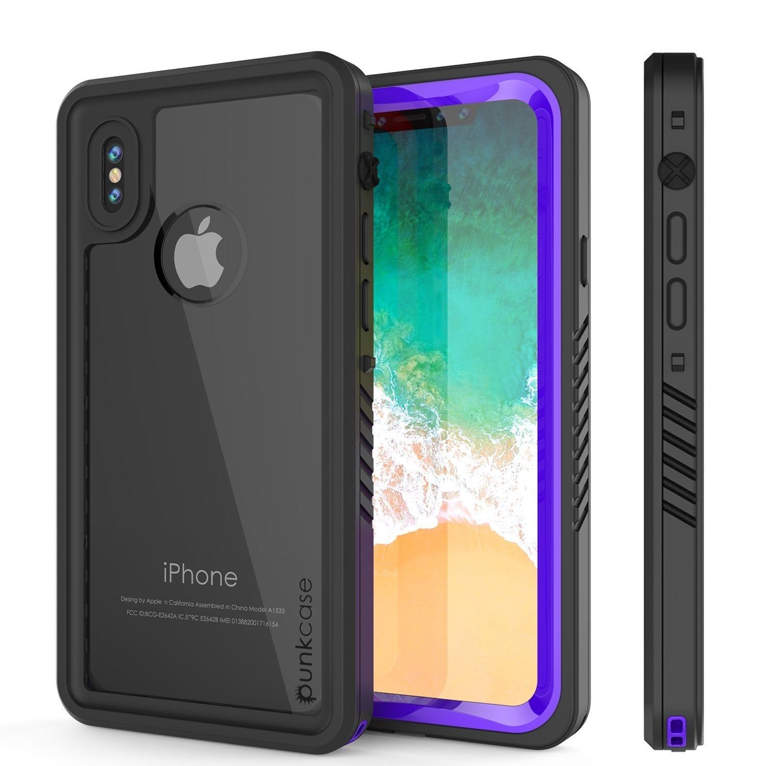 iPhone XS Max Waterproof Case, Punkcase [Extreme Series] Armor Cover W/ Built In Screen Protector [Purple]