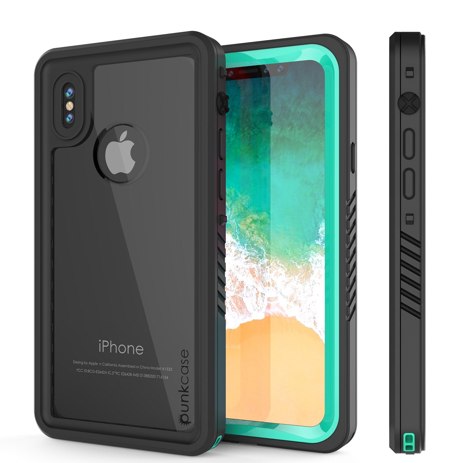 iPhone X Punkase, Extreme Series Cover W/Screen Protector [Teal]