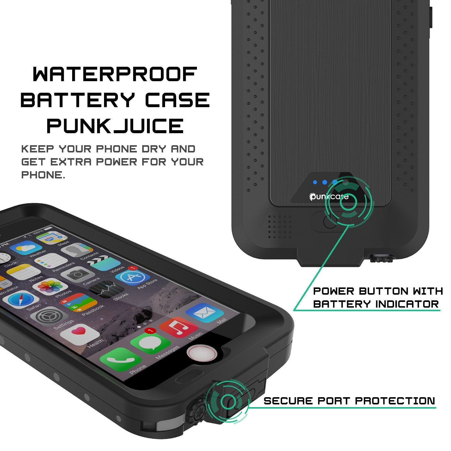 PunkJuice iPhone 6+ Plus/6s+ Plus Battery Case Black - Waterproof Slim Power Juice Bank with 4300mAh