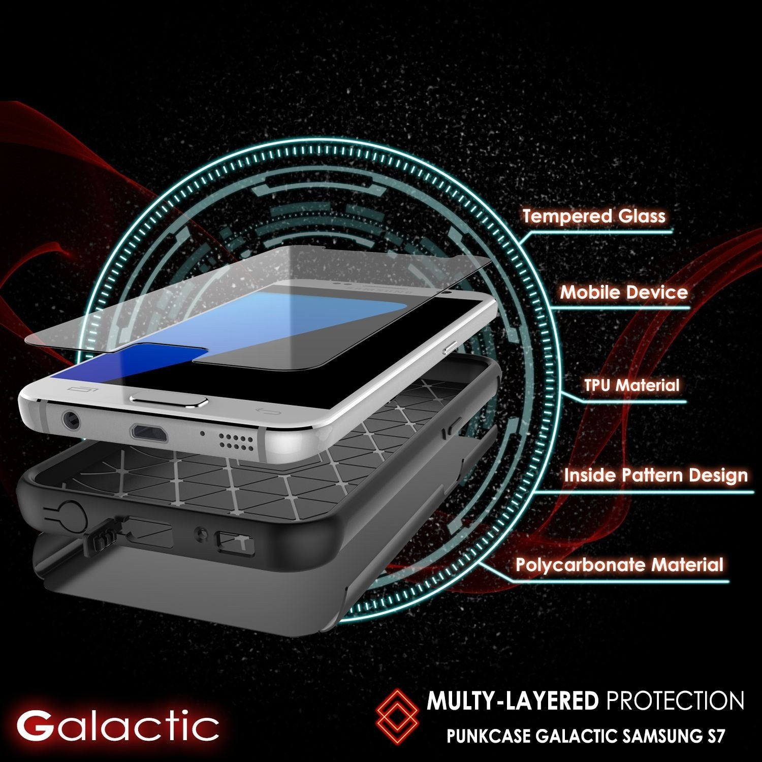 Galaxy s7 Case PunkCase Galactic Black Series Slim Armor Soft Cover Case w/ Tempered Glass