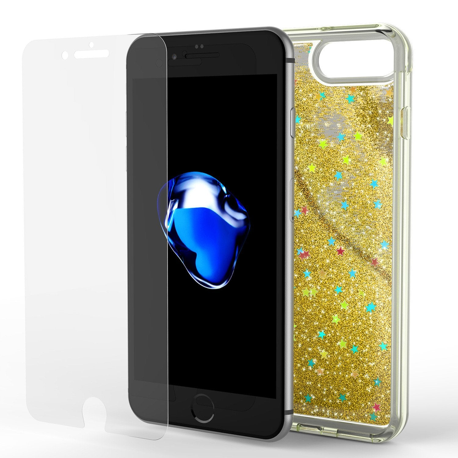 iPhone 7 Plus Case, Punkcase [Liquid Gold Series] Protective Dual Layer Floating Glitter Cover with lots of Bling & Sparkle + 0.3mm Tempered Glass Screen Protector for Apple iPhone 7s Plus