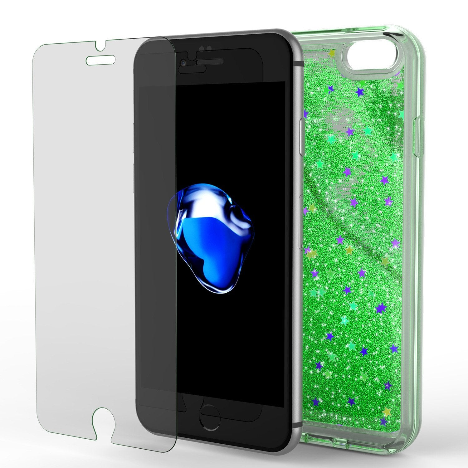 iPhone 7 Case, Punkcase [Liquid Green Series] Protective Dual Layer Floating Glitter Cover with lots of Bling & Sparkle + 0.3mm Tempered Glass Screen Protector for Apple iPhone 7s