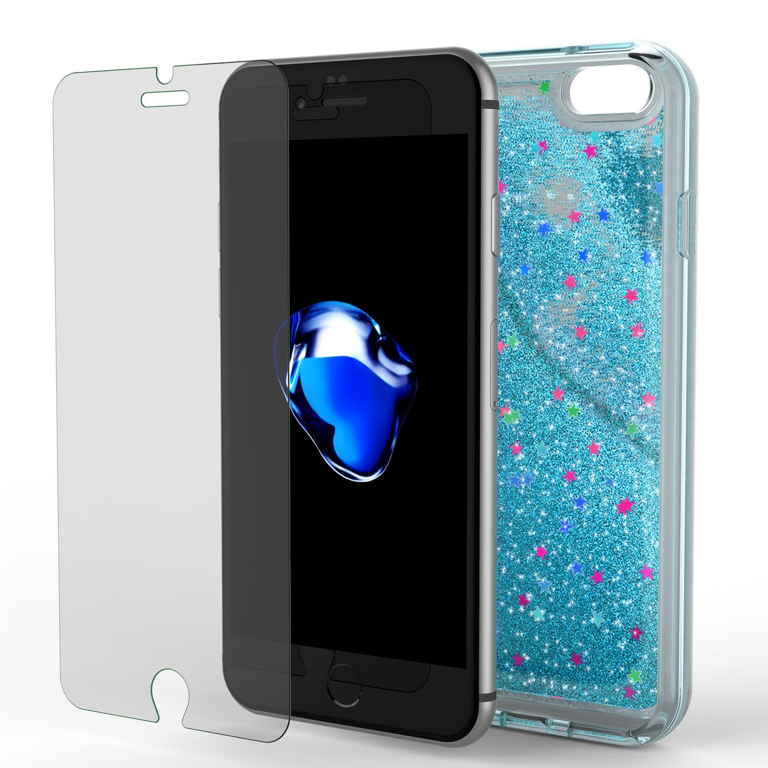 iPhone 7 Case, Punkcase [Liquid Teal Series] Protective Dual Layer Floating Glitter Cover with lots of Bling & Sparkle + 0.3mm Tempered Glass Screen Protector for Apple iPhone 7s