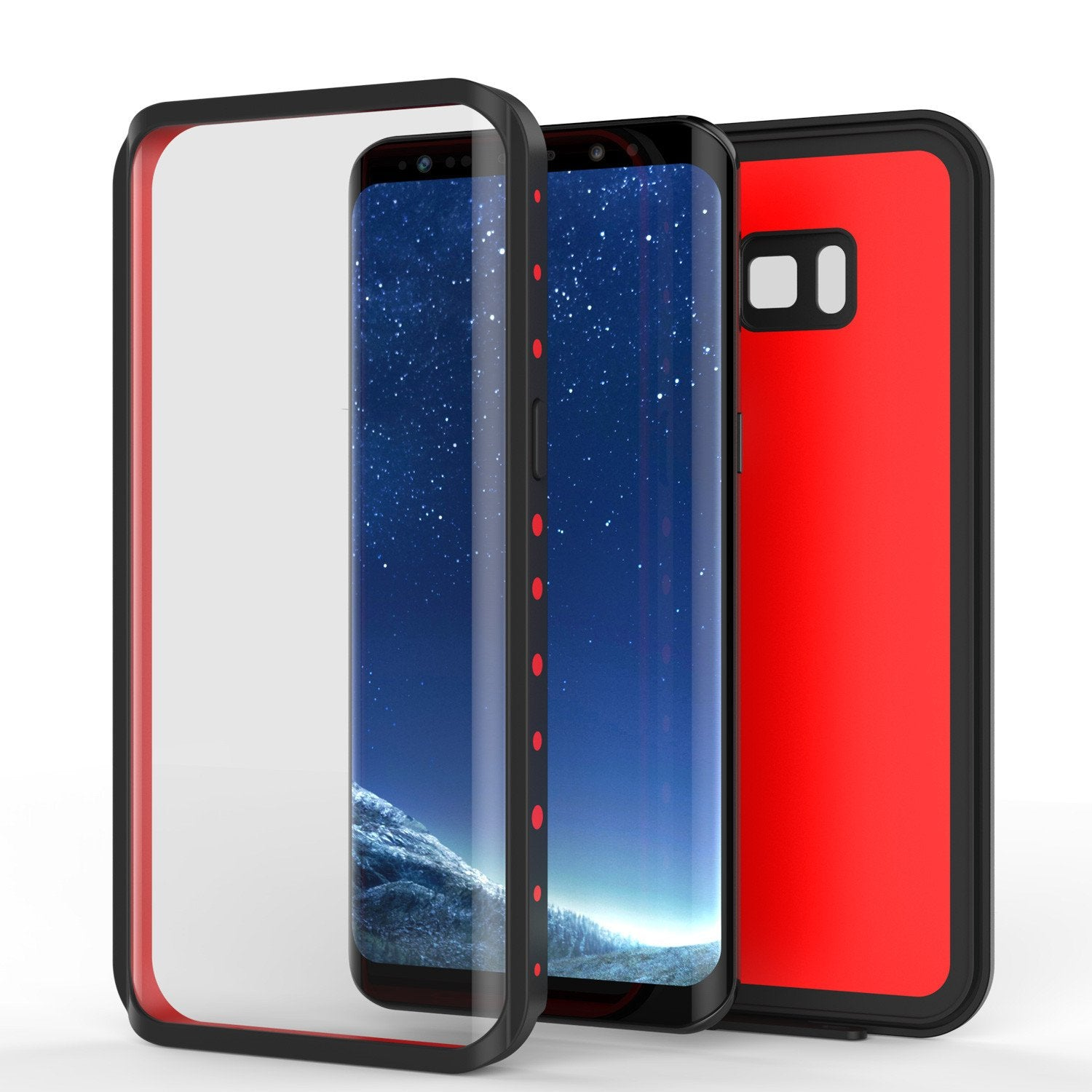 Galaxy S8 Plus  Case, Punkcase StudStar Series Slim Fit [Red]