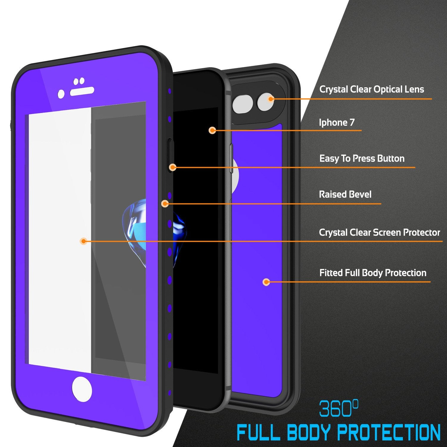 iPhone 7 Waterproof Case, Punkcase [Purple] [StudStar Series] [Slim Fit] [IP68 Certified] [Shockproof] [Dirtproof] [Snowproof] Armor Cover for Apple iPhone 7 & 7s