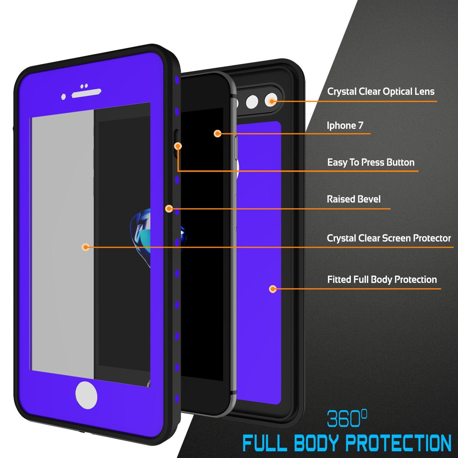 iPhone 7s Plus Waterproof Case, Punkcase [Purple] [StudStar Series] [Slim Fit] [IP68 Certified] [Shockproof] [Dirtproof] [Snowproof] Armor Cover for Apple iPhone 7 Plus & 7s +