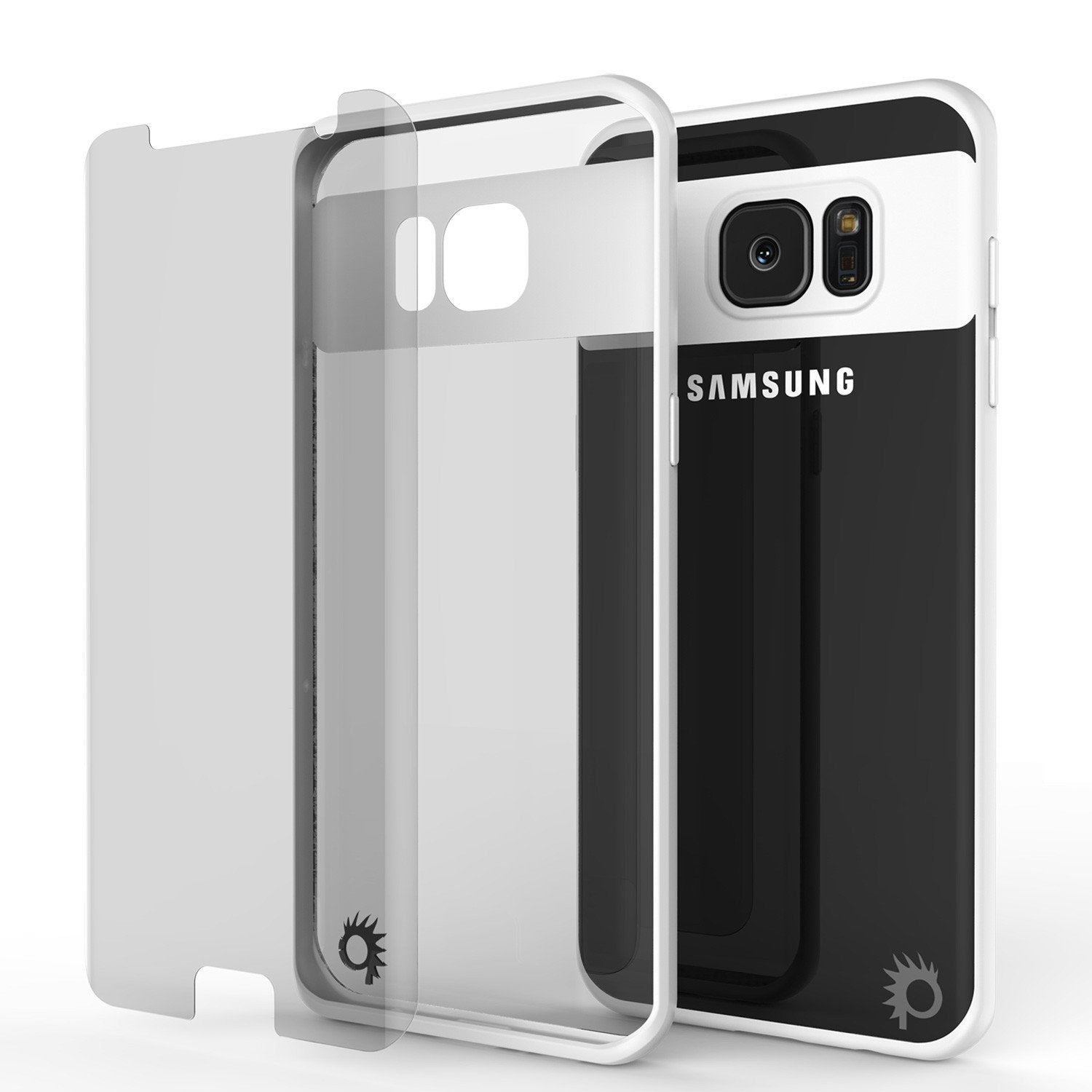 Galaxy S7 Edge Case [MASK Series] [WHITE] Full Body Hybrid Dual Layer TPU Cover W/ Protective PUNKSHIELD Screen Protector