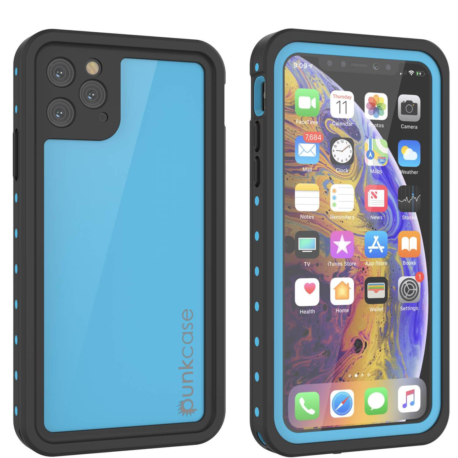 iPhone 11 Pro Waterproof IP68 Case, Punkcase [Light blue] [StudStar Series] [Slim Fit] [Dirtproof]