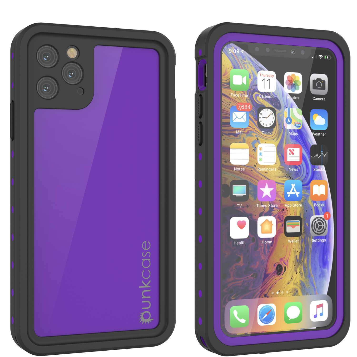 iPhone 11 Pro Waterproof IP68 Case, Punkcase [Purple] [StudStar Series] [Slim Fit] [Dirtproof]