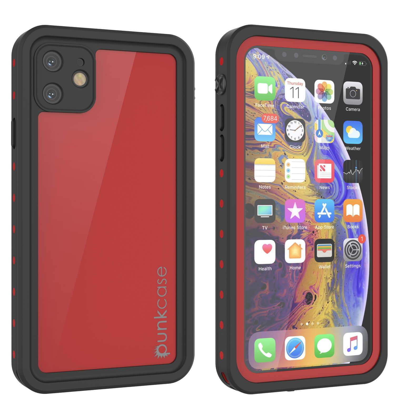 iPhone 11 Waterproof IP68 Case, Punkcase [Red] [StudStar Series] [Slim Fit]